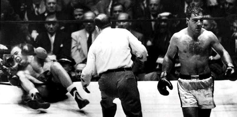 Rocky Marciano and Joe Louis
