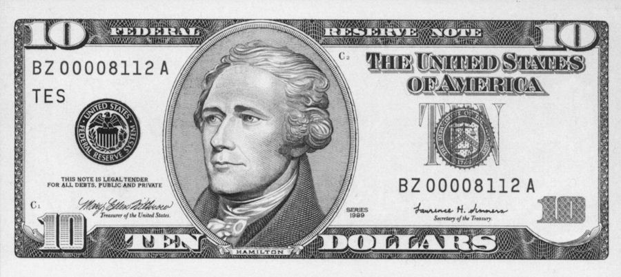 Alexander Hamilton on the $10 bill